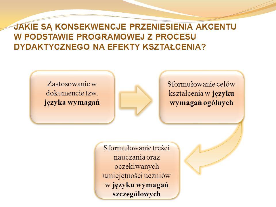 JAKIE SĄ KONSEKWENCJE PRZENIESIENIA AKCENTU W PODSTAWIE PROGRAMOWEJ Z PROCESU DYDAKTYCZNEGO NA EFEKTY KSZTAŁCENIA? Zastosowanie w dokumencie tzw. języ