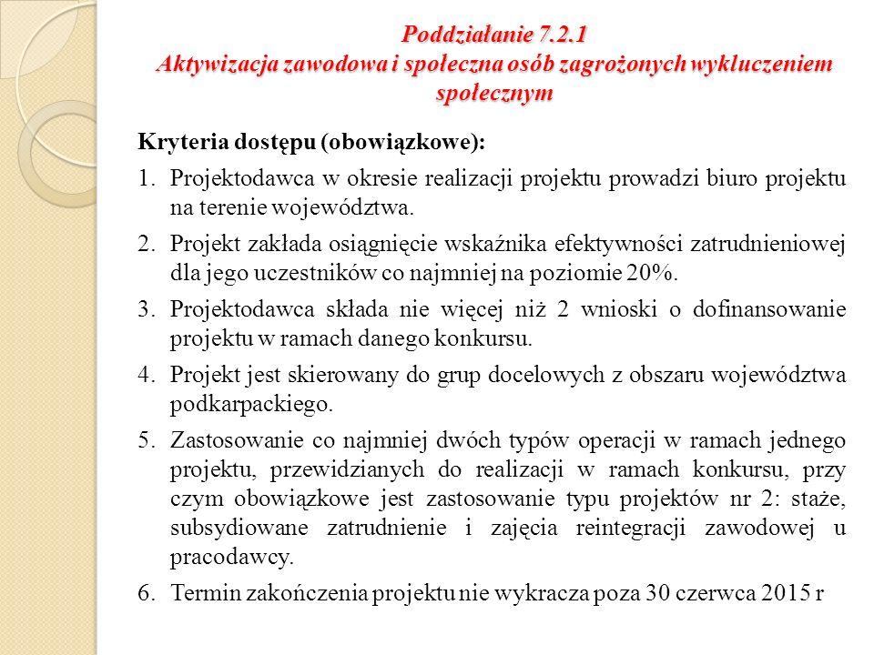 Poddziałanie 7.2.1 Aktywizacja zawodowa i społeczna osób zagrożonych wykluczeniem społecznym Kryteria dostępu (obowiązkowe): 1.Projektodawca w okresie realizacji projektu prowadzi biuro projektu na terenie województwa.