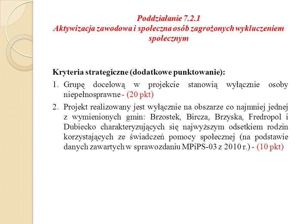 Poddziałanie 7.2.1 Aktywizacja zawodowa i społeczna osób zagrożonych wykluczeniem społecznym Kryteria strategiczne (dodatkowe punktowanie): 1.Grupę docelową w projekcie stanowią wyłącznie osoby niepełnosprawne - (20 pkt) 2.Projekt realizowany jest wyłącznie na obszarze co najmniej jednej z wymienionych gmin: Brzostek, Bircza, Brzyska, Fredropol i Dubiecko charakteryzujących się najwyższym odsetkiem rodzin korzystających ze świadczeń pomocy społecznej (na podstawie danych zawartych w sprawozdaniu MPiPS-03 z 2010 r.) - (10 pkt)