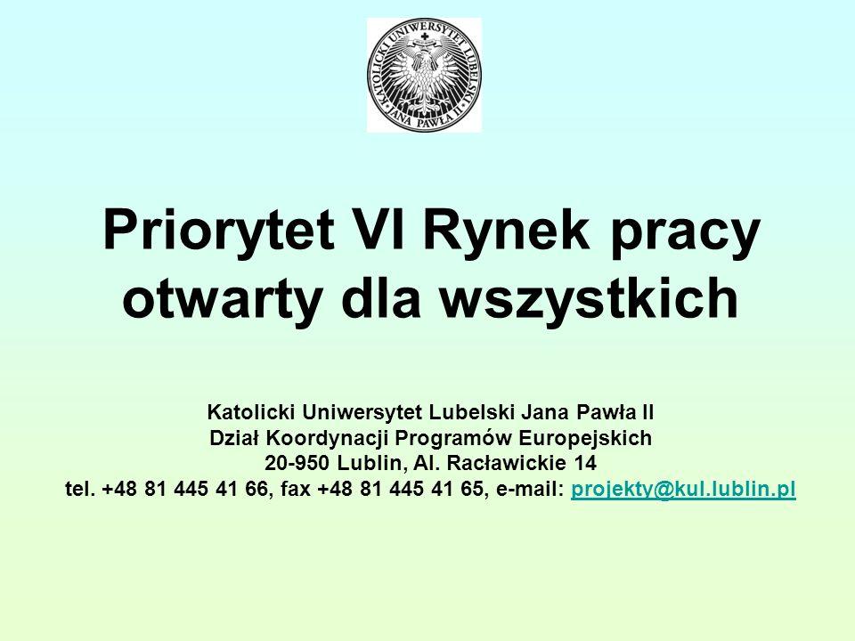 Priorytet VI Rynek pracy otwarty dla wszystkich Katolicki Uniwersytet Lubelski Jana Pawła II Dział Koordynacji Programów Europejskich 20-950 Lublin, Al.