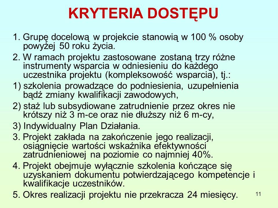 11 KRYTERIA DOSTĘPU 1. Grupę docelową w projekcie stanowią w 100 % osoby powyżej 50 roku życia.