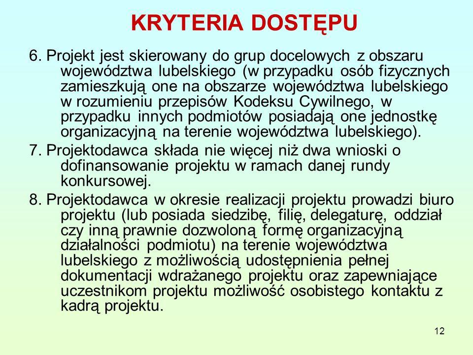 12 KRYTERIA DOSTĘPU 6.