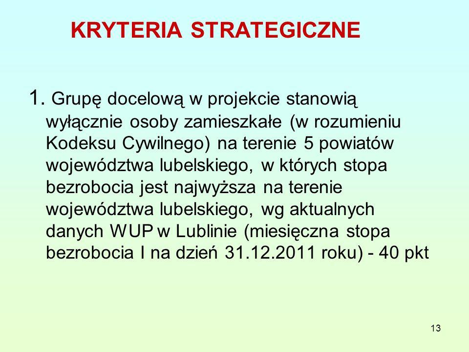 13 KRYTERIA STRATEGICZNE 1.