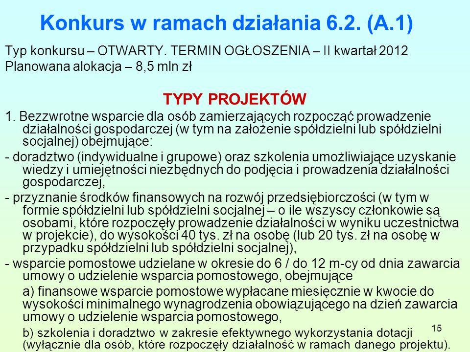 15 Konkurs w ramach działania 6.2. (A.1) Typ konkursu – OTWARTY.