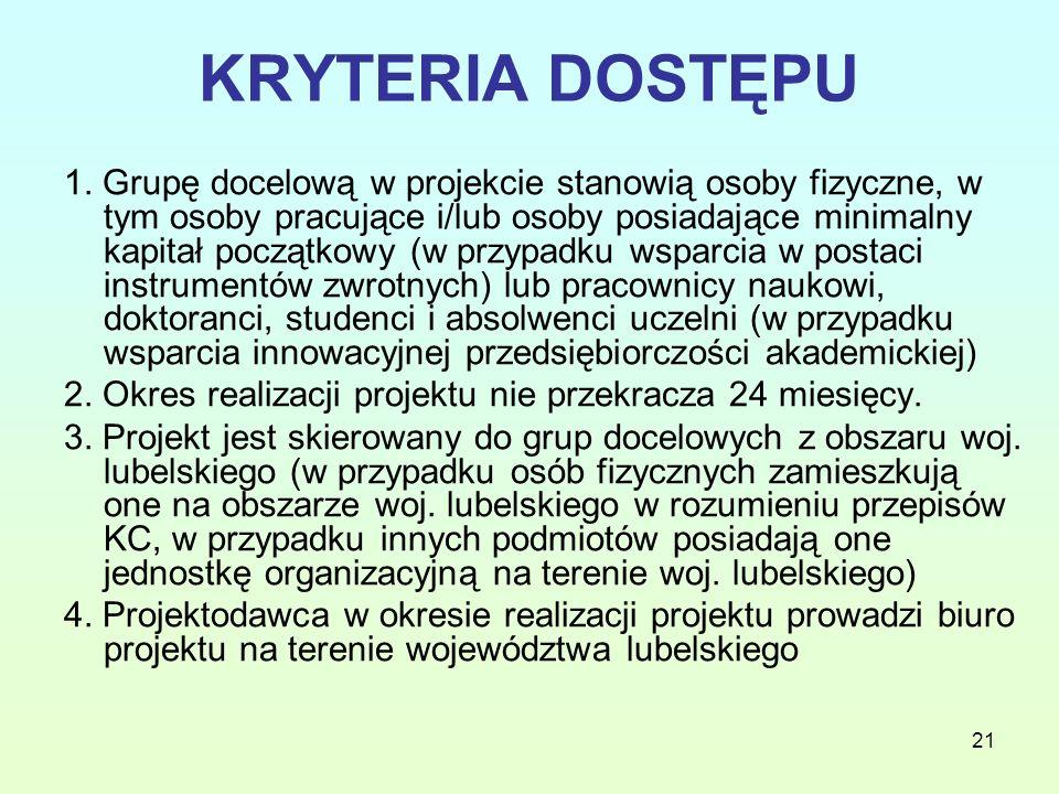 21 KRYTERIA DOSTĘPU 1.