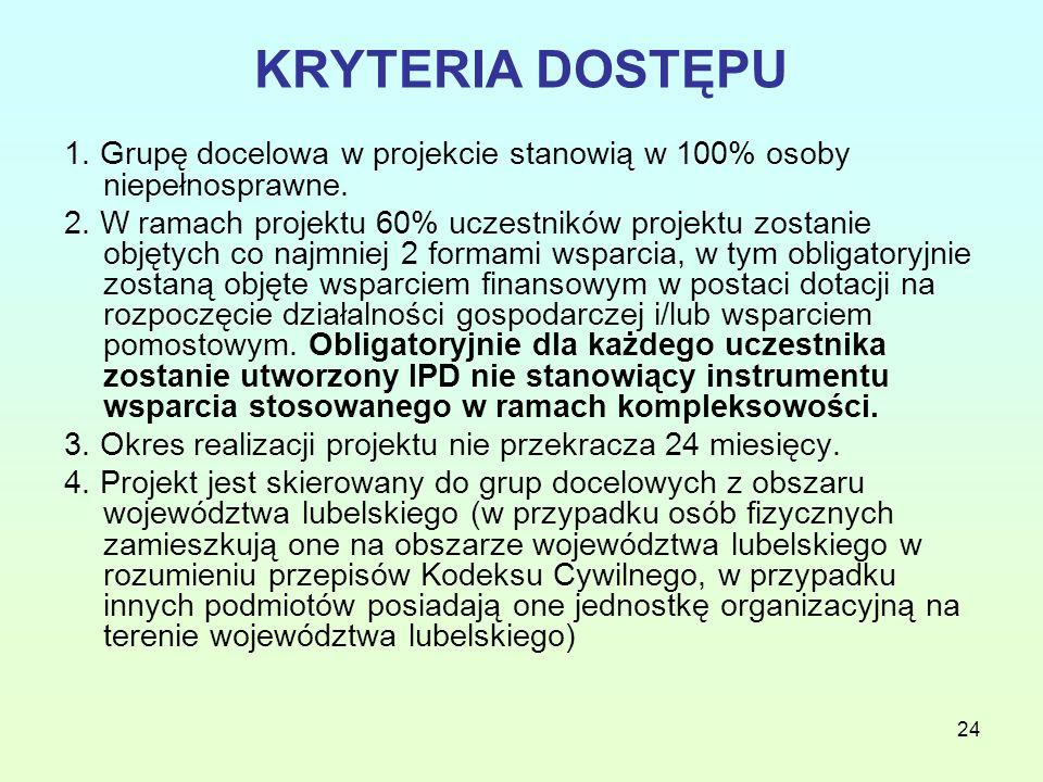 24 KRYTERIA DOSTĘPU 1. Grupę docelowa w projekcie stanowią w 100% osoby niepełnosprawne.