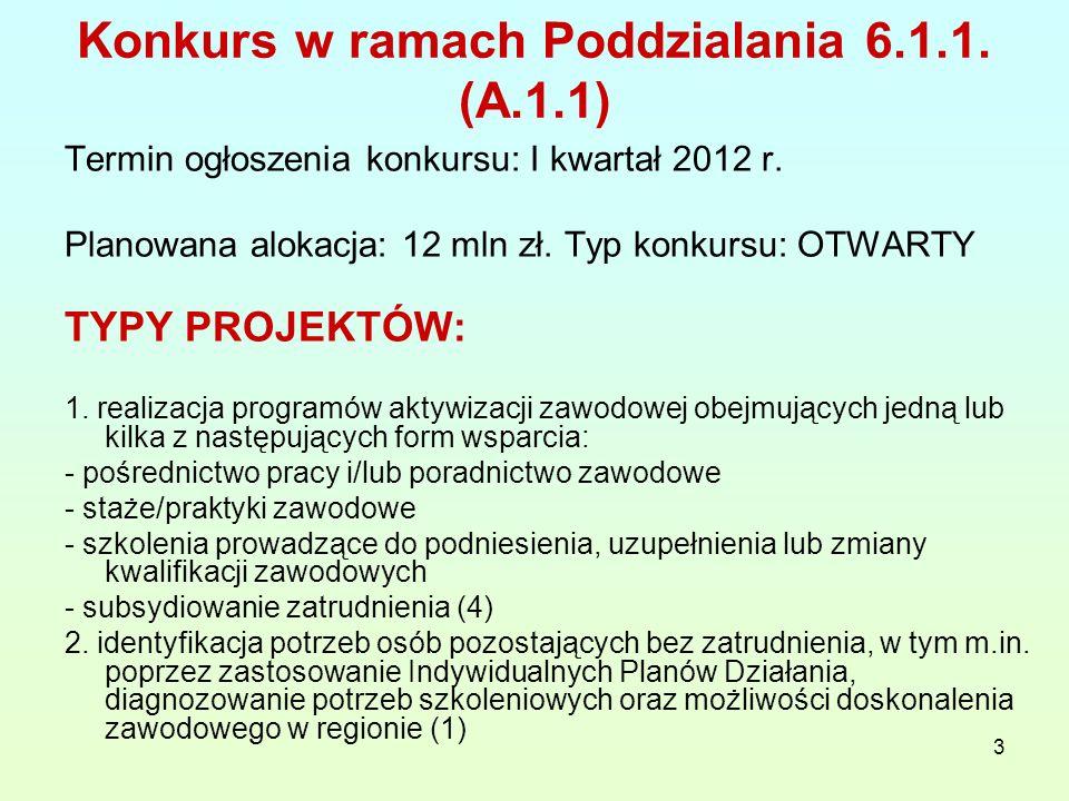 3 Konkurs w ramach Poddzialania 6.1.1. (A.1.1) Termin ogłoszenia konkursu: I kwartał 2012 r.