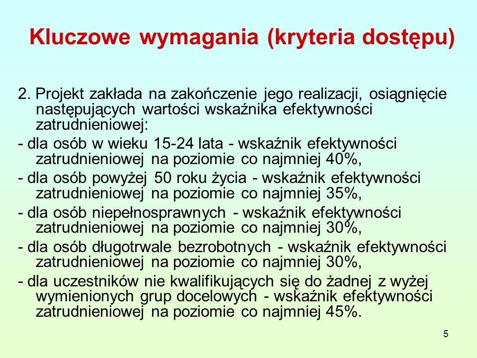 26 KRYTERIA STRATEGICZNE 1.Grupę docelową w projekcie stanowią wyłącznie osoby zamieszkałe (w rozumieniu Kodeksu Cywilnego) na terenie 5 powiatów województwa lubelskiego, w których stopa bezrobocia jest najwyższa na terenie województwa lubelskiego, wg aktualnych danych WUP w Lublinie (miesięczna stopa bezrobocia I na dzień 31.12.2011 roku) - 20 pkt 2.