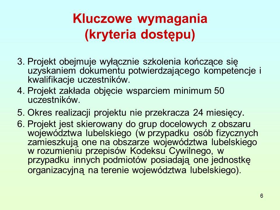 7 Kluczowe wymagania (kryteria dostępu) 7.