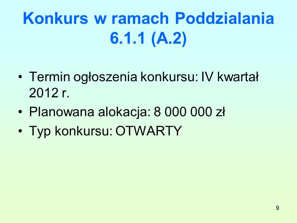 9 Konkurs w ramach Poddzialania 6.1.1 (A.2) Termin ogłoszenia konkursu: IV kwartał 2012 r.