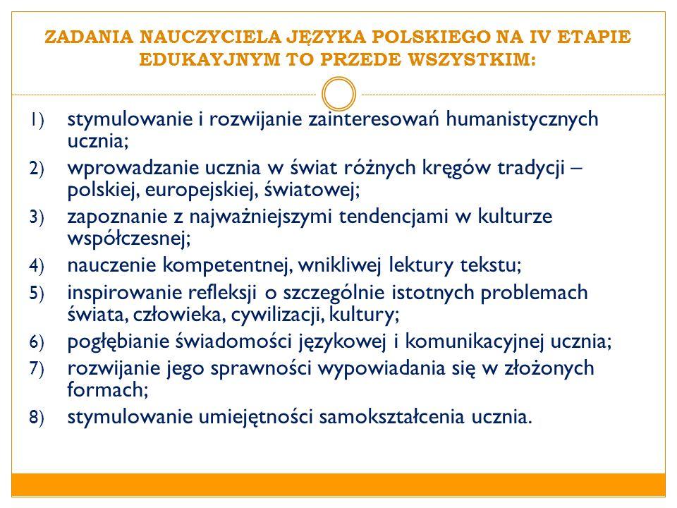 ZADANIA NAUCZYCIELA JĘZYKA POLSKIEGO NA IV ETAPIE EDUKAYJNYM TO PRZEDE WSZYSTKIM: 1) stymulowanie i rozwijanie zainteresowań humanistycznych ucznia; 2