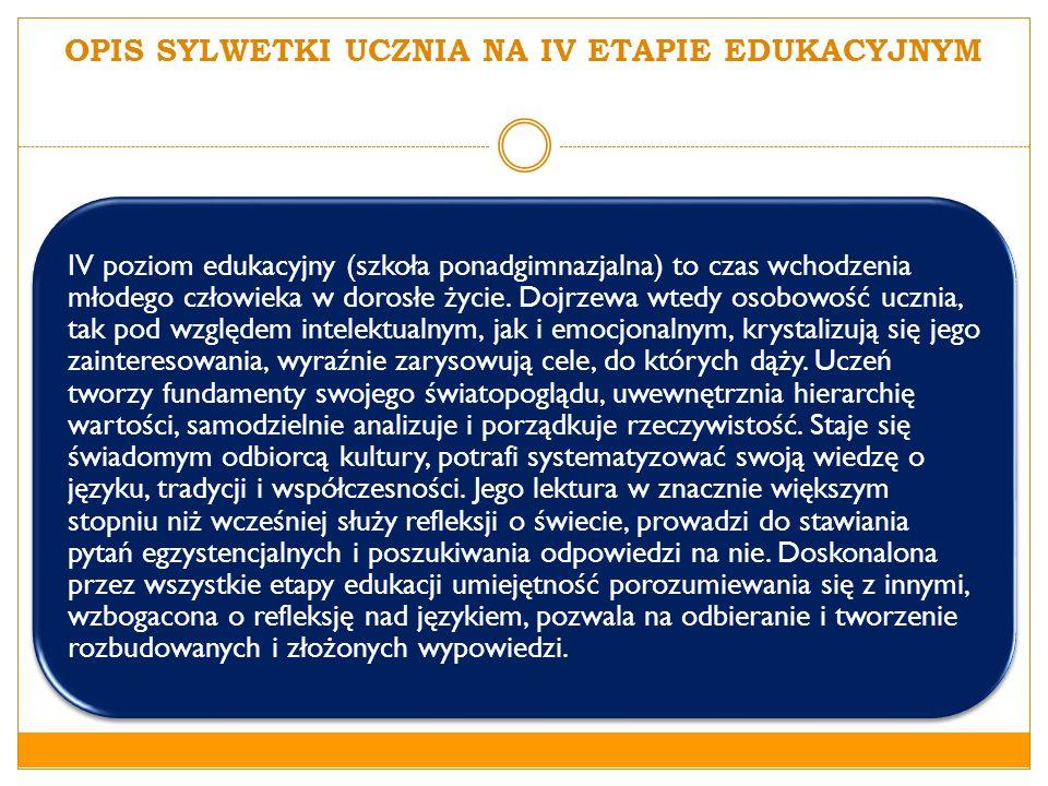 OPIS SYLWETKI UCZNIA NA IV ETAPIE EDUKACYJNYM IV poziom edukacyjny (szkoła ponadgimnazjalna) to czas wchodzenia młodego człowieka w dorosłe życie. Doj