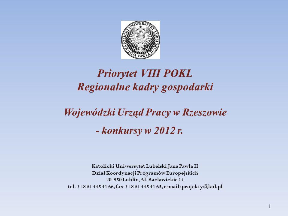 Priorytet VIII POKL Regionalne kadry gospodarki Wojewódzki Urząd Pracy w Rzeszowie - konkursy w 2012 r. Katolicki Uniwersytet Lubelski Jana Pawła II D