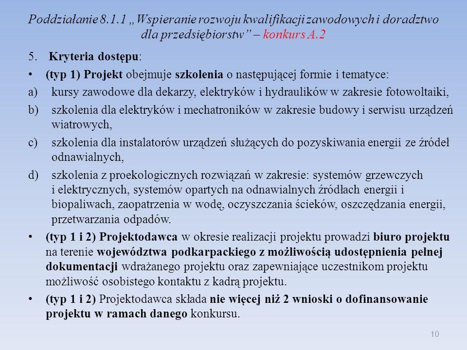 Poddziałanie 8.1.1 Wspieranie rozwoju kwalifikacji zawodowych i doradztwo dla przedsiębiorstw – konkurs A.2 5. Kryteria dostępu: (typ 1) Projekt obejm