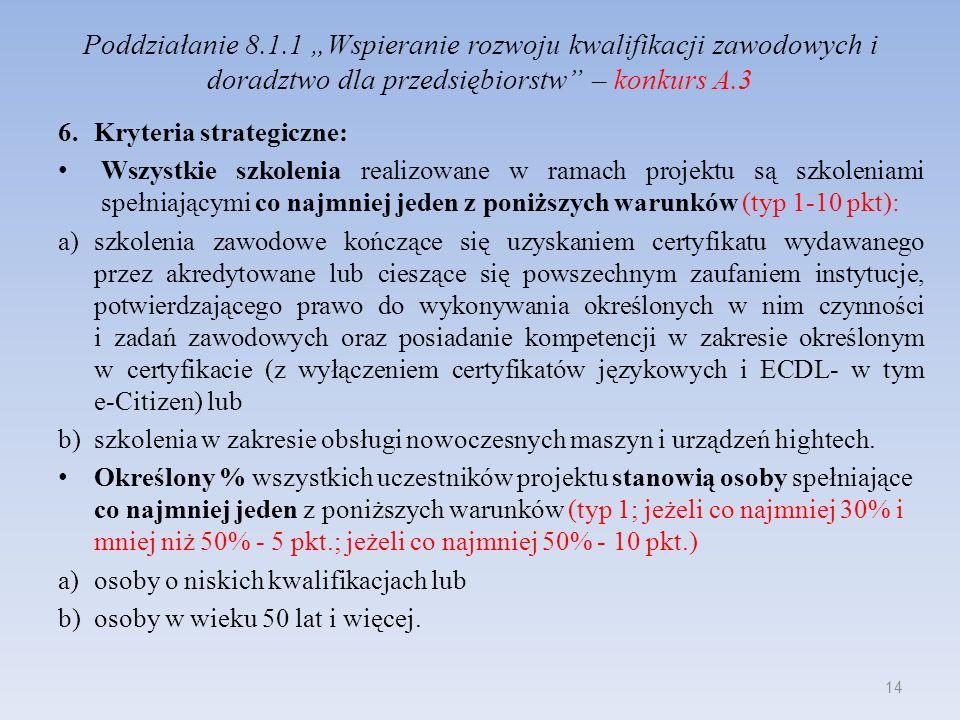 Poddziałanie 8.1.1 Wspieranie rozwoju kwalifikacji zawodowych i doradztwo dla przedsiębiorstw – konkurs A.3 6.Kryteria strategiczne: Wszystkie szkolen