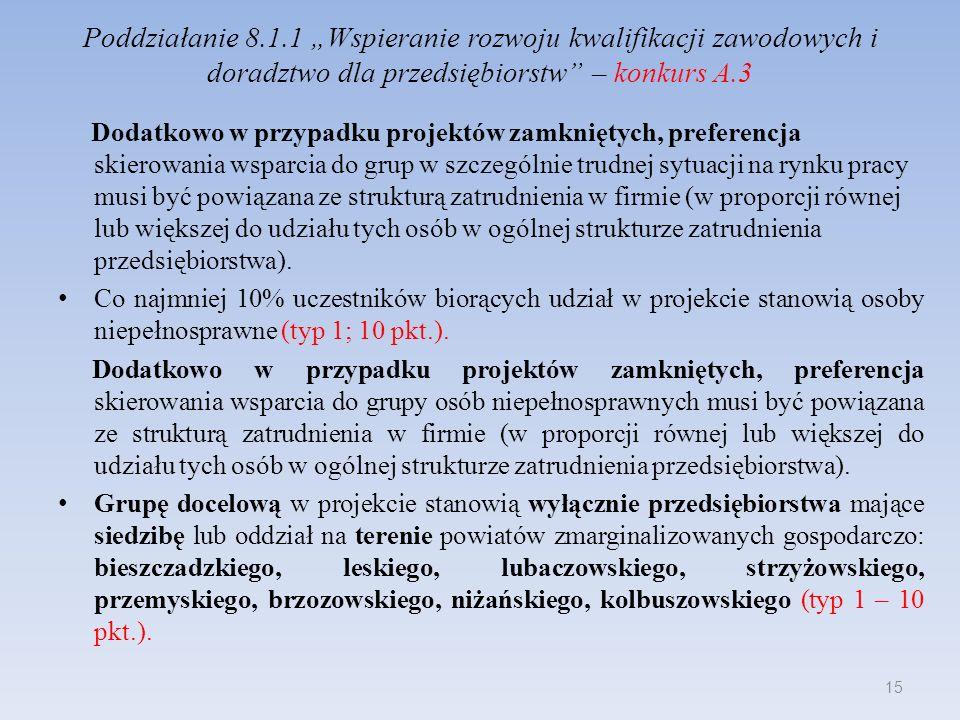 Poddziałanie 8.1.1 Wspieranie rozwoju kwalifikacji zawodowych i doradztwo dla przedsiębiorstw – konkurs A.3 Dodatkowo w przypadku projektów zamkniętyc