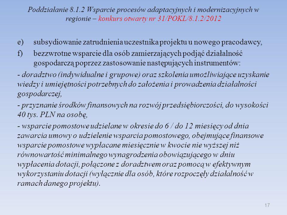 Poddziałanie 8.1.2 Wsparcie procesów adaptacyjnych i modernizacyjnych w regionie – konkurs otwarty nr 31/POKL/8.1.2/2012 e)subsydiowanie zatrudnienia