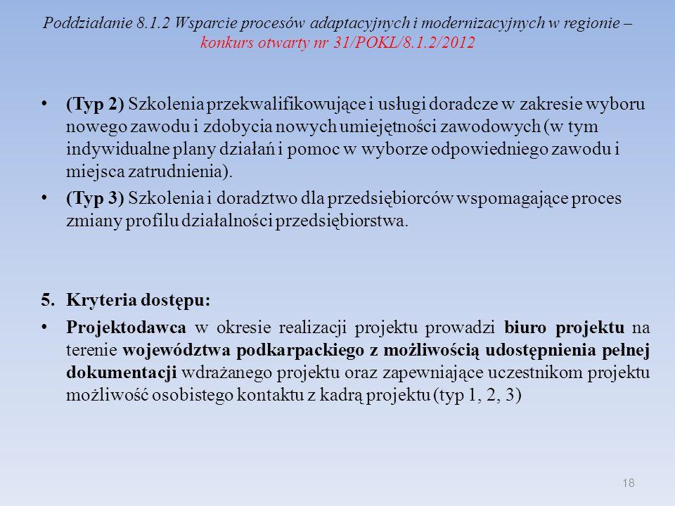 Poddziałanie 8.1.2 Wsparcie procesów adaptacyjnych i modernizacyjnych w regionie – konkurs otwarty nr 31/POKL/8.1.2/2012 Okres realizacji projektu nie przekracza 24 miesięcy, a planowany termin zakończenia realizacji projektu nie wykracza poza 30 czerwca 2015 roku (typ 1, 2, 3) Projekt jest skierowany do grup docelowych z obszaru województwa podkarpackiego – typ 1, 2, 3.