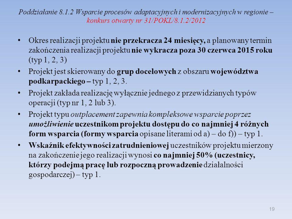 Poddziałanie 8.1.2 Wsparcie procesów adaptacyjnych i modernizacyjnych w regionie – konkurs otwarty nr 31/POKL/8.1.2/2012 Okres realizacji projektu nie