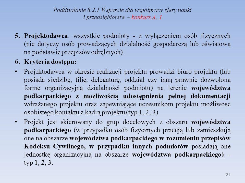 Poddziałanie 8.2.1 Wsparcie dla współpracy sfery nauki i przedsiębiorstw – konkurs A. 1 5.Projektodawca: wszystkie podmioty - z wyłączeniem osób fizyc