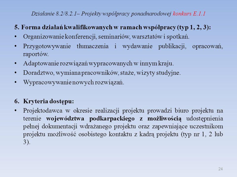 Działanie 8.2/8.2.1– Projekty współpracy ponadnarodowej konkurs E.1.1 5.Forma działań kwalifikowanych w ramach współpracy (typ 1, 2, 3): Organizowanie