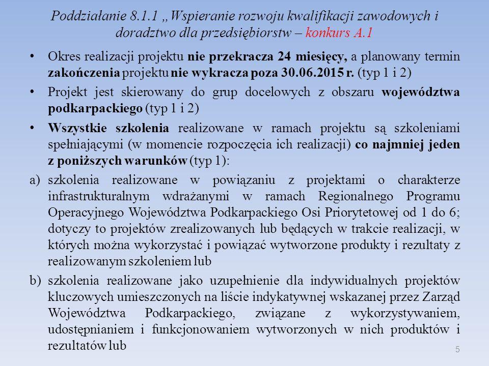 Poddziałanie 8.1.1 Wspieranie rozwoju kwalifikacji zawodowych i doradztwo dla przedsiębiorstw – konkurs A.1 Okres realizacji projektu nie przekracza 2
