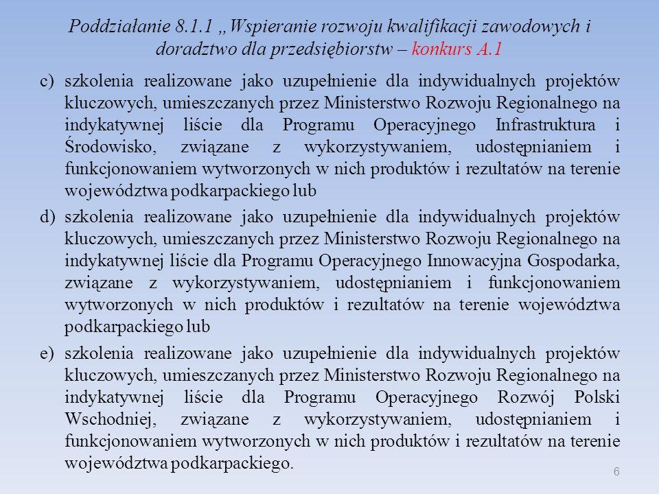 Poddziałanie 8.1.1 Wspieranie rozwoju kwalifikacji zawodowych i doradztwo dla przedsiębiorstw – konkurs A.1 c)szkolenia realizowane jako uzupełnienie