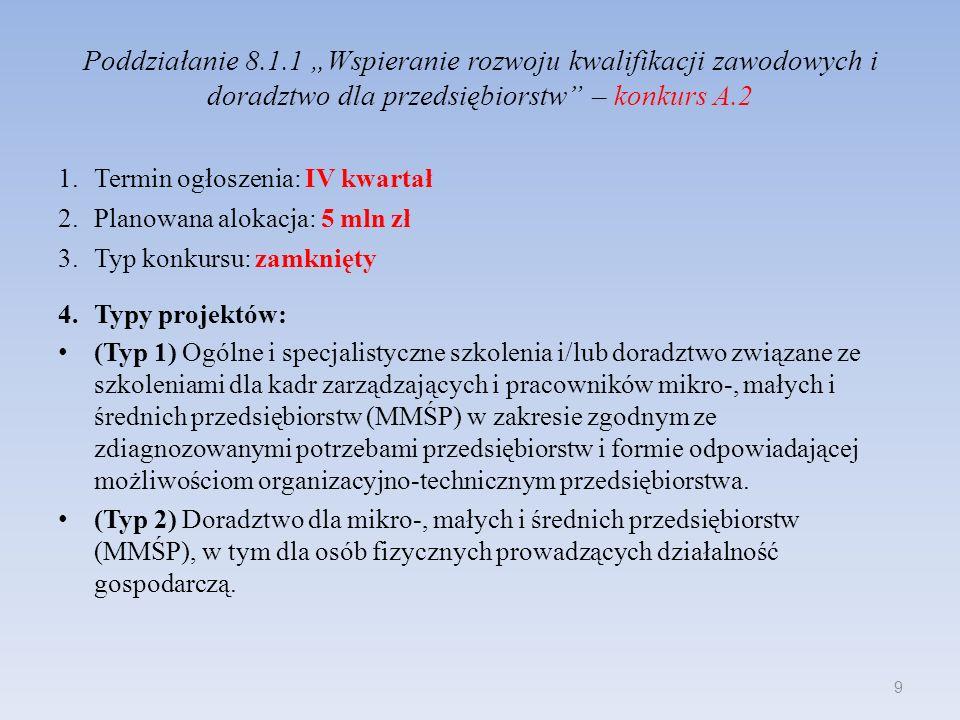 Poddziałanie 8.1.1 Wspieranie rozwoju kwalifikacji zawodowych i doradztwo dla przedsiębiorstw – konkurs A.2 1.Termin ogłoszenia: IV kwartał 2.Planowan