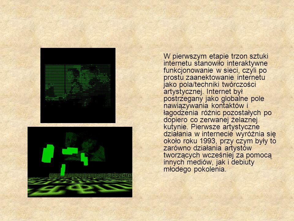 Net art a sztuka tradycyjna Net art prowadzi do zacierania się granic sztuki W sztuce sieci artysta może natychmiast zaprezentować efekt swojej pracy Odejście od kategorii estetycznych Zakłada aktywność odbiorcy Istnienie form użytkowych, tj strony internetowe Wykorzystywanie języka html, hipertekstu Brak ograniczeń przestrzeni – łączenie ludzi różnych wyznań, o odmiennych poglądach