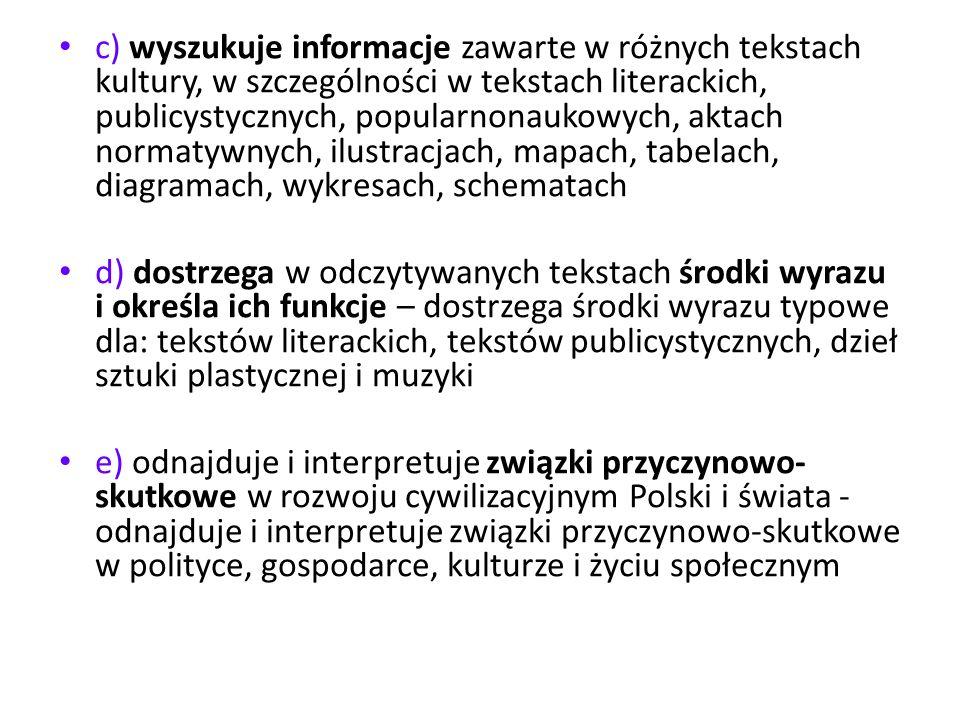 c) wyszukuje informacje zawarte w różnych tekstach kultury, w szczególności w tekstach literackich, publicystycznych, popularnonaukowych, aktach norma