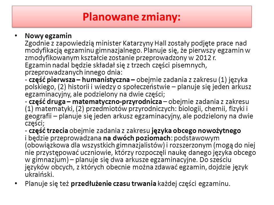 Planowane zmiany: Nowy egzamin Zgodnie z zapowiedzią minister Katarzyny Hall zostały podjęte prace nad modyfikacją egzaminu gimnazjalnego. Planuje się