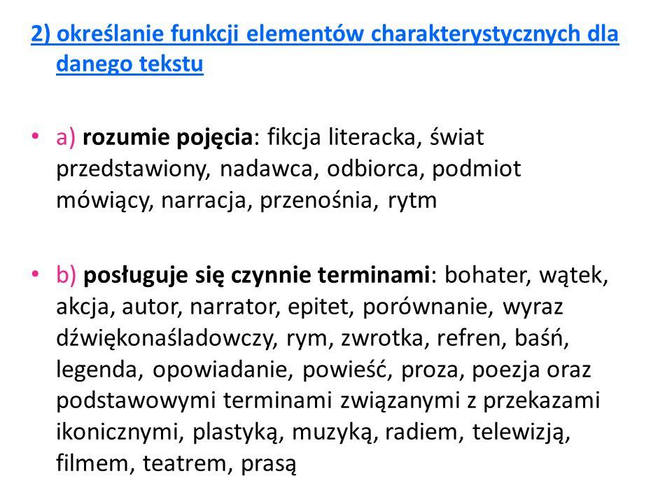 2) określanie funkcji elementów charakterystycznych dla danego tekstu a) rozumie pojęcia: fikcja literacka, świat przedstawiony, nadawca, odbiorca, po