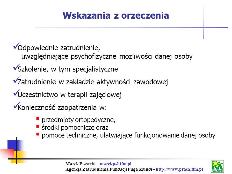 Marek Piasecki – marekp@ffm.pl Agencja Zatrudnienia Fundacji Fuga Mundi – http://www.praca.ffm.pl Wskazania z orzeczenia Odpowiednie zatrudnienie, uwzględniające psychofizyczne możliwości danej osoby Szkolenie, w tym specjalistyczne Zatrudnienie w zakładzie aktywności zawodowej Uczestnictwo w terapii zajęciowej Konieczność zaopatrzenia w : przedmioty ortopedyczne, środki pomocnicze oraz pomoce techniczne, ułatwiające funkcjonowanie danej osoby
