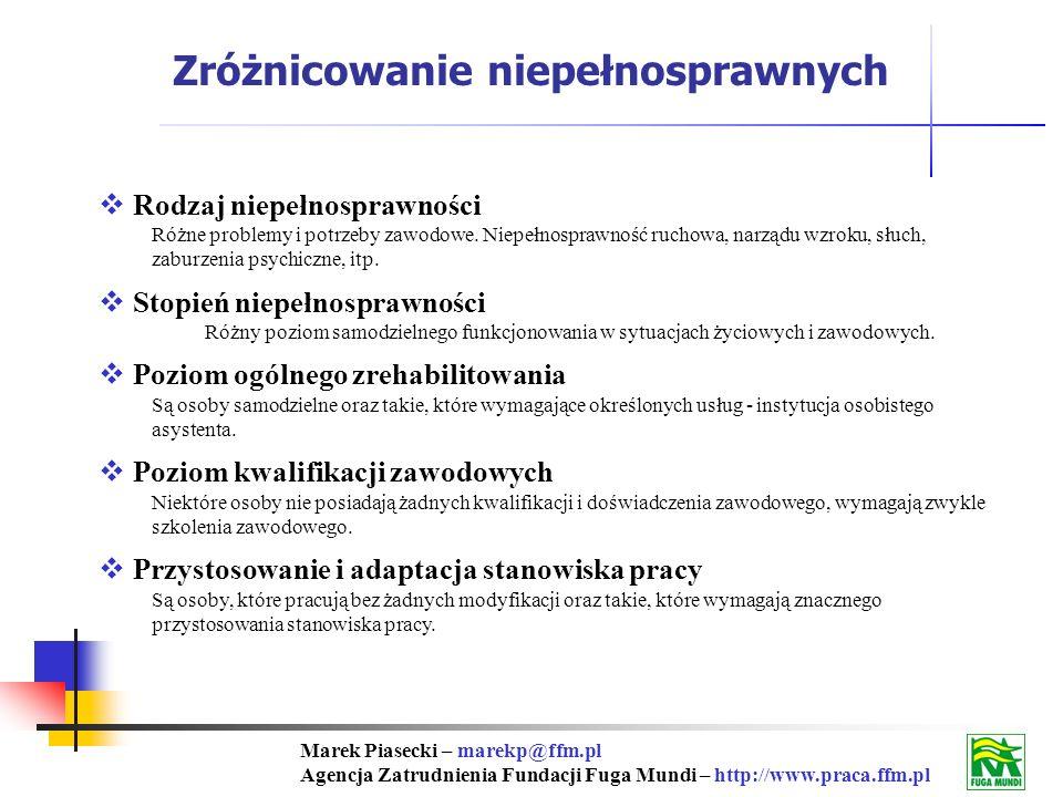 Marek Piasecki – marekp@ffm.pl Agencja Zatrudnienia Fundacji Fuga Mundi – http://www.praca.ffm.pl Rodzaj niepełnosprawności Różne problemy i potrzeby zawodowe.