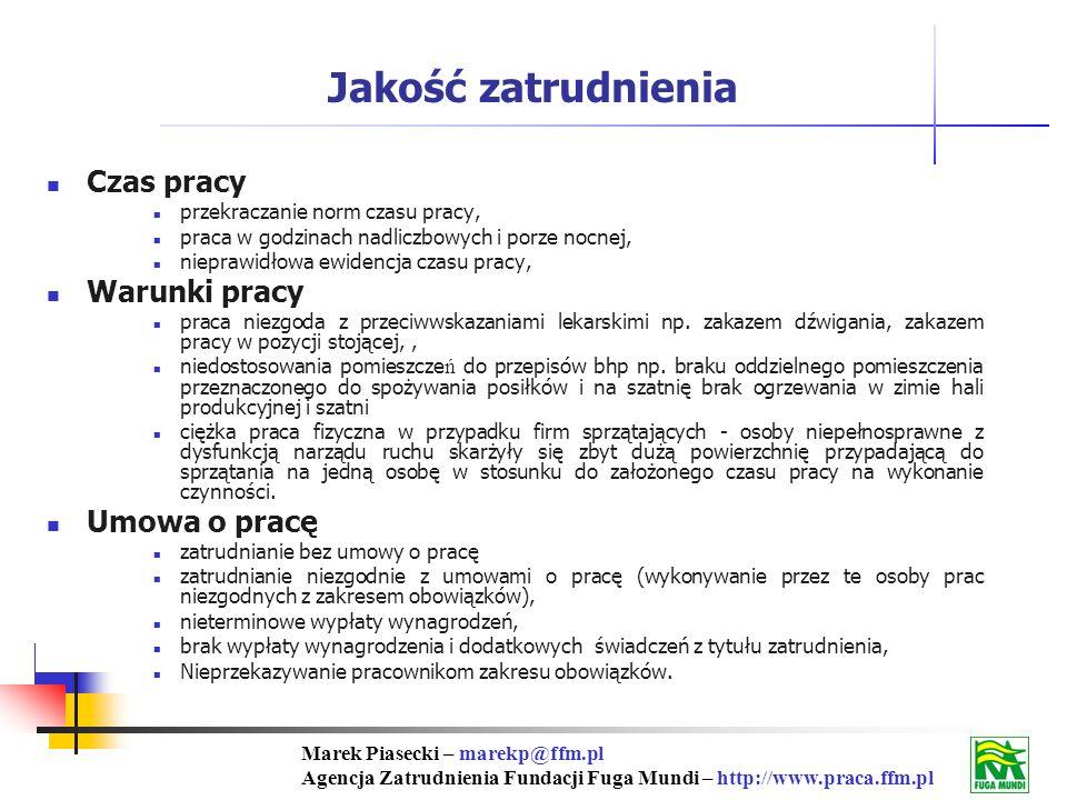 Marek Piasecki – marekp@ffm.pl Agencja Zatrudnienia Fundacji Fuga Mundi – http://www.praca.ffm.pl Czas pracy przekraczanie norm czasu pracy, praca w godzinach nadliczbowych i porze nocnej, nieprawidłowa ewidencja czasu pracy, Warunki pracy praca niezgoda z przeciwwskazaniami lekarskimi np.
