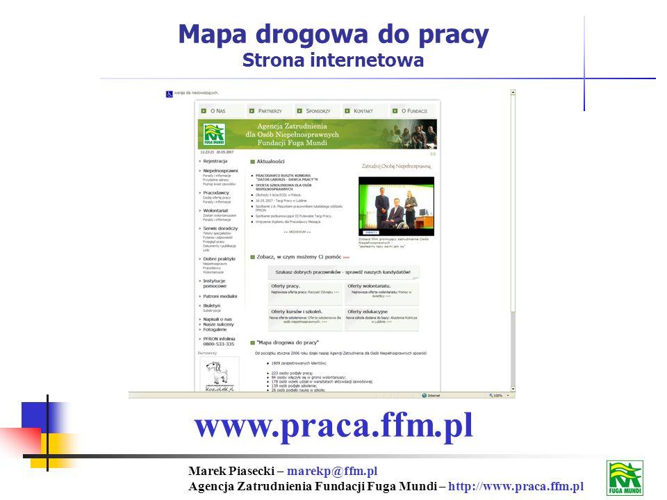 Marek Piasecki – marekp@ffm.pl Agencja Zatrudnienia Fundacji Fuga Mundi – http://www.praca.ffm.pl www.praca.ffm.pl Mapa drogowa do pracy Strona internetowa