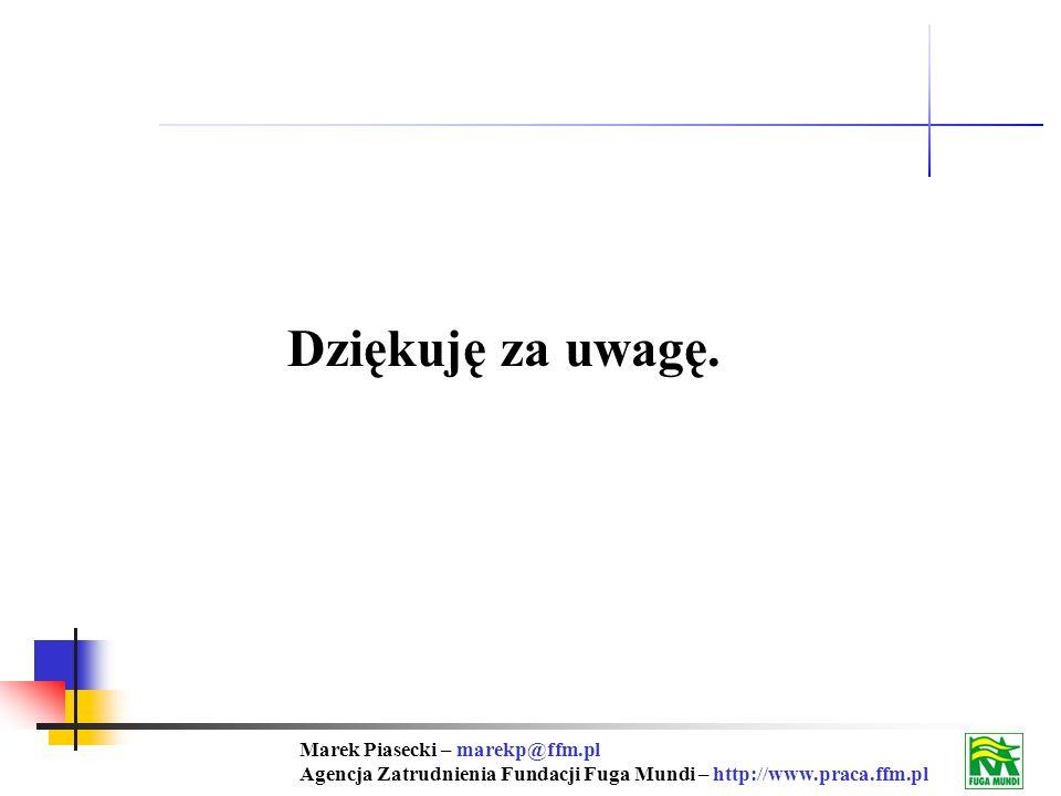 Marek Piasecki – marekp@ffm.pl Agencja Zatrudnienia Fundacji Fuga Mundi – http://www.praca.ffm.pl Dziękuję za uwagę.