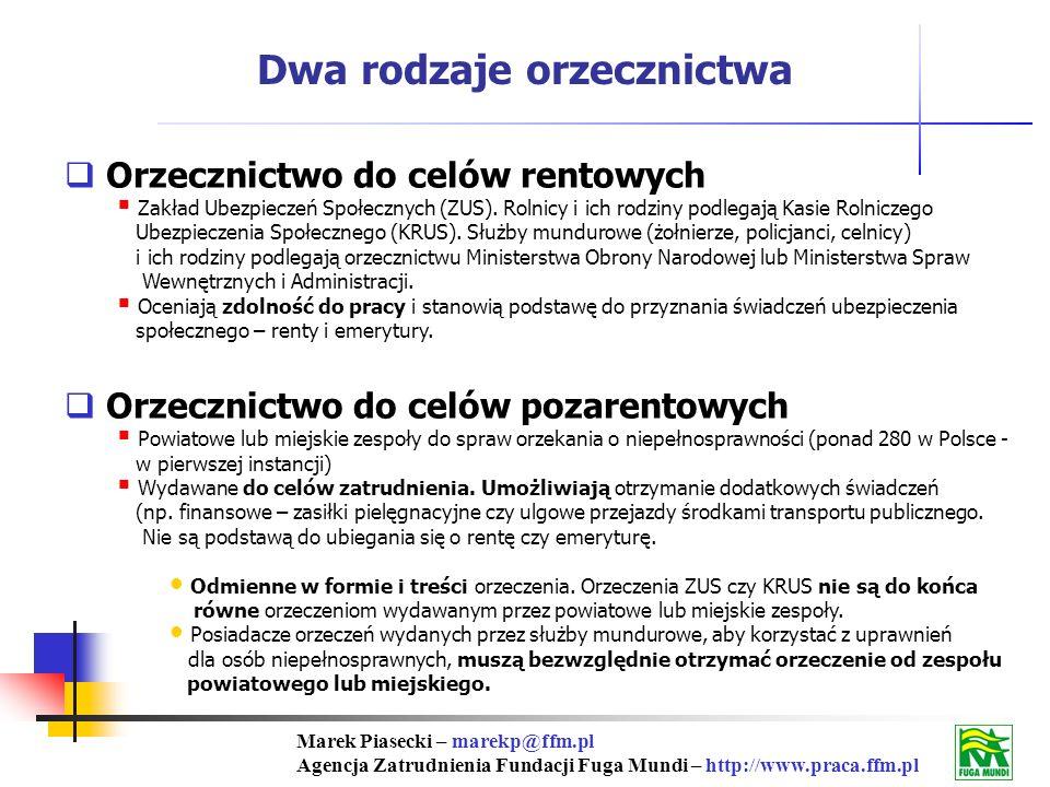 Marek Piasecki – marekp@ffm.pl Agencja Zatrudnienia Fundacji Fuga Mundi – http://www.praca.ffm.pl Dwa rodzaje orzecznictwa Orzecznictwo do celów rentowych Zakład Ubezpieczeń Społecznych (ZUS).