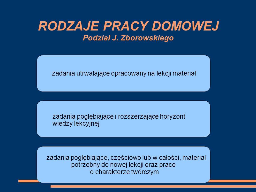RODZAJE PRACY DOMOWEJ Podział J. Zborowskiego zadania utrwalające opracowany na lekcji materiał zadania pogłębiające i rozszerzające horyzont wiedzy l