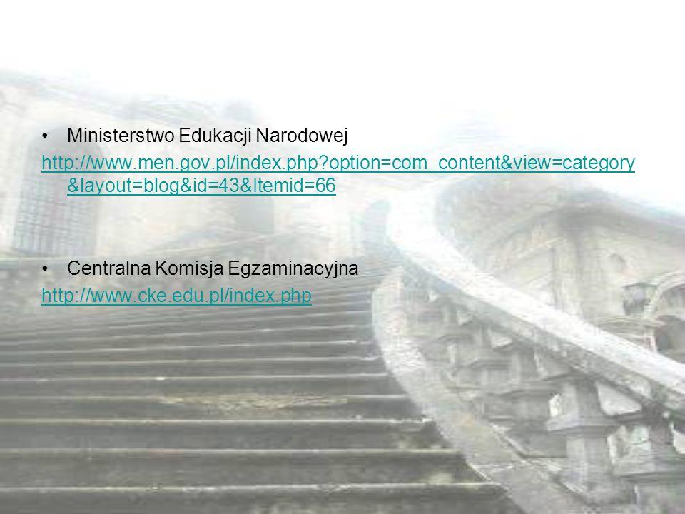 Ministerstwo Edukacji Narodowej http://www.men.gov.pl/index.php?option=com_content&view=category &layout=blog&id=43&Itemid=66 Centralna Komisja Egzami
