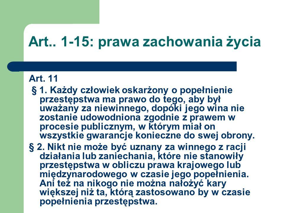 Art..1-15: prawa zachowania życia Art.