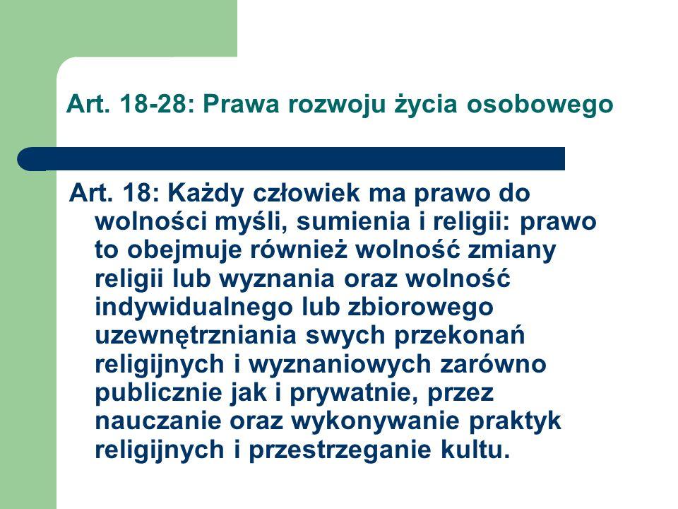 Art.18-28: Prawa rozwoju życia osobowego Art.