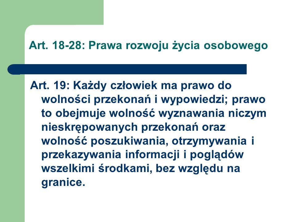 Art.18-28: Prawa rozwoju życia osobowego Art. 20 § 1.