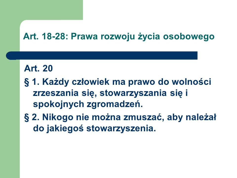 Art.18-28: Prawa rozwoju życia osobowego Art. 21 § 1.