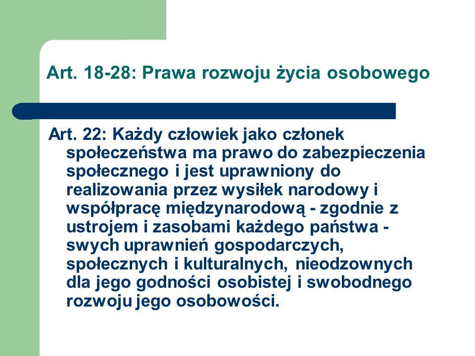 Art.18-28: Prawa rozwoju życia osobowego Art. 23 § 1.
