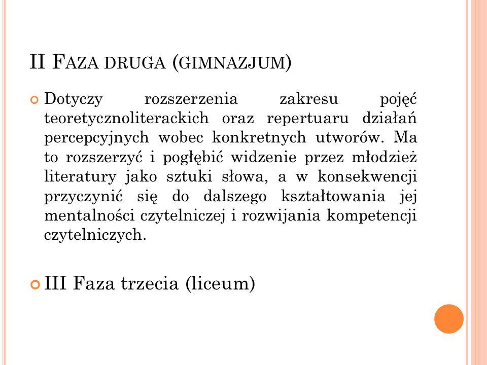 II F AZA DRUGA ( GIMNAZJUM ) Dotyczy rozszerzenia zakresu pojęć teoretycznoliterackich oraz repertuaru działań percepcyjnych wobec konkretnych utworów