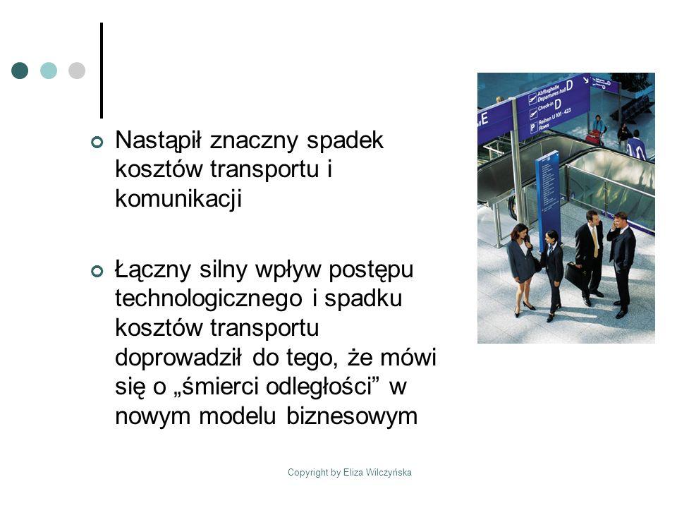 Copyright by Eliza Wilczyńska Nastąpił znaczny spadek kosztów transportu i komunikacji Łączny silny wpływ postępu technologicznego i spadku kosztów transportu doprowadził do tego, że mówi się o śmierci odległości w nowym modelu biznesowym