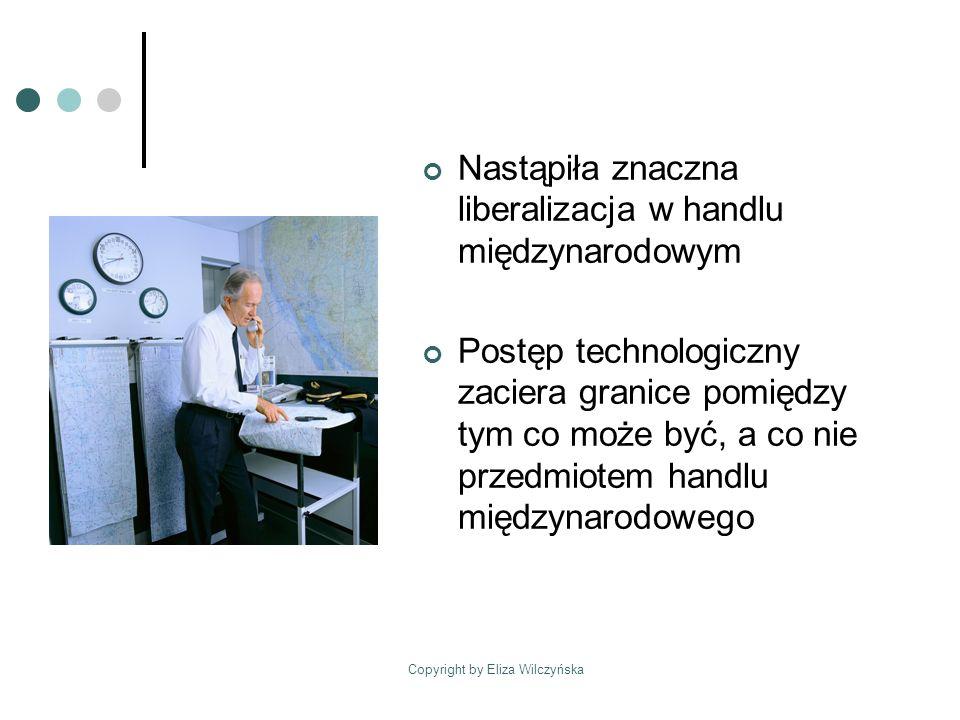 Copyright by Eliza Wilczyńska Stracą… Pracownicy- przeniesione miejsca pracy Firmy niezdolne do restrukturyzacji i konkurowania z firmami z krajów o niskich kosztach