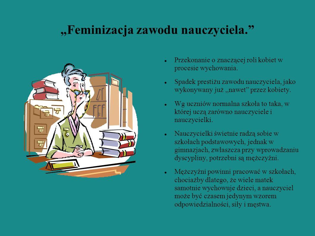 Feminizacja zawodu nauczyciela. Przekonanie o znaczącej roli kobiet w procesie wychowania. Spadek prestiżu zawodu nauczyciela, jako wykonywany już naw