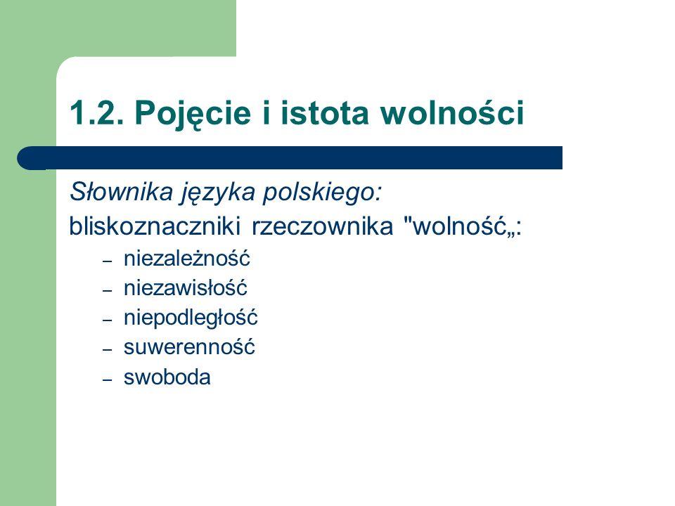 1.2. Pojęcie i istota wolności Słownika języka polskiego: bliskoznaczniki rzeczownika